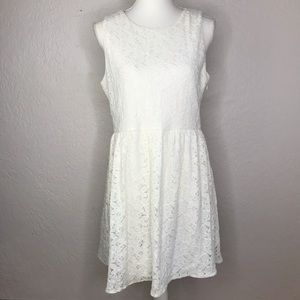Forever21 Fit & Flare White Floral Lace Dress